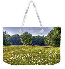 Tractor In Field With Flowers Weekender Tote Bag