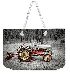 Tractor In The Snow Weekender Tote Bag