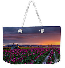 Tractor Waits For Morning Weekender Tote Bag