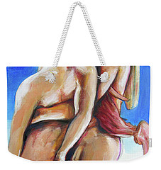 Weekender Tote Bag featuring the painting Apollo And Hyacinth Tradgedy Of Love  by Rene Capone