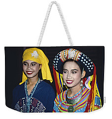 Weekender Tote Bag featuring the photograph Traditional Dressed Thai Ladies by Heiko Koehrer-Wagner