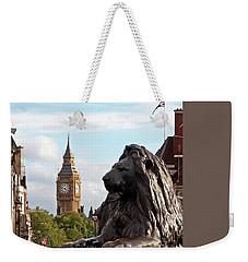 Trafalgar Square Lion With Big Ben Weekender Tote Bag by Gill Billington