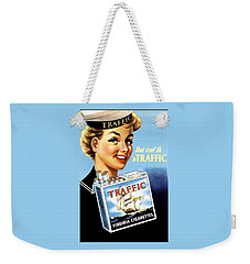 Weekender Tote Bag featuring the digital art Traffic Cigarette by Reinvintaged