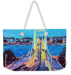 Traffic On Elisabeth Bridge At Dusk Weekender Tote Bag