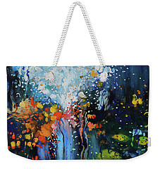 Weekender Tote Bag featuring the painting Traffic Seen Through A Rainy Windshield by Dan Haraga