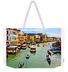 Weekender Tote Bag featuring the photograph Traghetto, Vaporetto, Gondola  by Tom Cameron