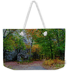Weekender Tote Bag featuring the photograph Trail Past Indian Face Rock by Barbara Bowen