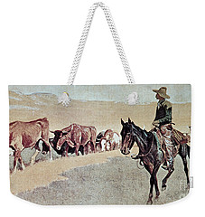 Trailing Texas Longhorns Weekender Tote Bag by Frederic Remington