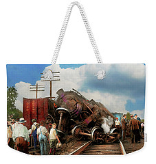 Weekender Tote Bag featuring the photograph Train - Accident - Butting Heads 1922 by Mike Savad