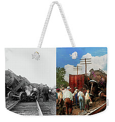 Weekender Tote Bag featuring the photograph Train - Accident - Butting Heads 1922 - Side By Side by Mike Savad