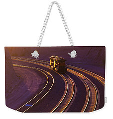 Train At Sunset Weekender Tote Bag