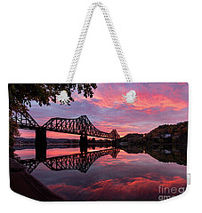 Train Bridge At Sunrise  Weekender Tote Bag