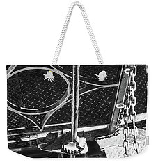 Weekender Tote Bag featuring the photograph Train Car Connections by Colleen Coccia