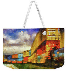 Train Freight Cars Weekender Tote Bag