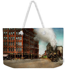 Weekender Tote Bag featuring the photograph Train - Respect The Train 1905 by Mike Savad