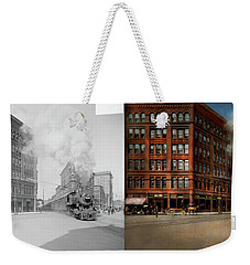 Weekender Tote Bag featuring the photograph Train - Respect The Train 1905 - Side By Side by Mike Savad