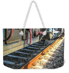 Weekender Tote Bag featuring the pyrography Train Road by Yury Bashkin