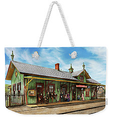 Weekender Tote Bag featuring the photograph Train Station - Garrison Train Station 1880 by Mike Savad