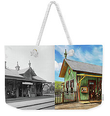 Weekender Tote Bag featuring the photograph Train Station - Garrison Train Station 1880 - Side By Side by Mike Savad
