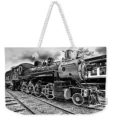 Train - Steam Engine Locomotive 385 In Black And White Weekender Tote Bag