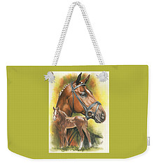 Weekender Tote Bag featuring the mixed media Trakehner by Barbara Keith