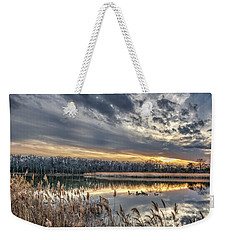 Tranquil Chesapeake Bay Pond During Winter At Sunset Weekender Tote Bag