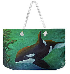 Weekender Tote Bag featuring the painting Tranquil Force by Phyllis Howard