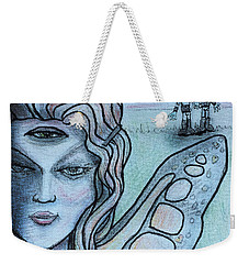 Weekender Tote Bag featuring the drawing Transformation by Similar Alien