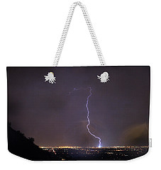 Weekender Tote Bag featuring the photograph It's A Hit Transformer Lightning Strike by James BO Insogna