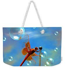 Transparent Red Dragonfly Weekender Tote Bag