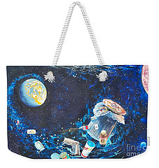 Weekender Tote Bag featuring the painting Trash Explosion by Sigrid Tune