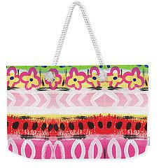 Weekender Tote Bag featuring the mixed media Painted Pattern 1- Art By Linda Woods by Linda Woods