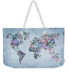 Traveler World Map Blue 8x10 Weekender Tote Bag