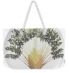 Weekender Tote Bag featuring the digital art Travelers Palm Plate by R  Allen Swezey