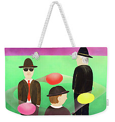 Weekender Tote Bag featuring the painting Traveling In The Right Business Circles by Thomas Blood