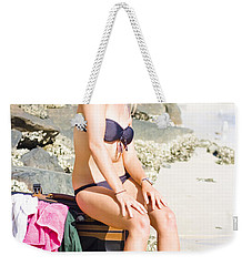 Weekender Tote Bag featuring the photograph Traveling Tourist With Suitcase On Beach Vacation by Jorgo Photography - Wall Art Gallery