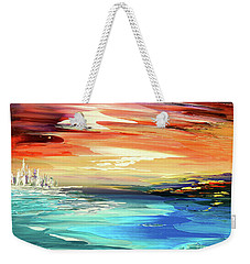 Weekender Tote Bag featuring the painting Treasure Island by Tatiana Iliina