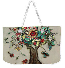 Weekender Tote Bag featuring the painting Tree And Plenty by Carrie Joy Byrnes