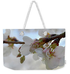 Weekender Tote Bag featuring the photograph Dogwood Branch Pink by Melinda Blackman
