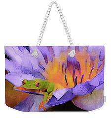 Weekender Tote Bag featuring the mixed media Tree Frog In Repose by Susan Maxwell Schmidt
