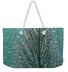 Tree In Autumn, With Red Leaves, Blue Background, Sunny Day Weekender Tote Bag