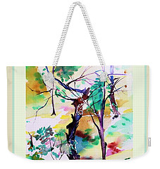 Weekender Tote Bag featuring the painting Tree Lovers by Mindy Newman