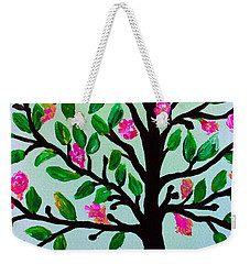 Weekender Tote Bag featuring the painting Tree Of Essence by Pristine Cartera Turkus