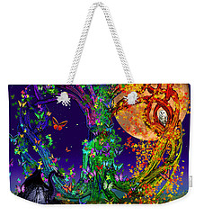 Tree Of Life With Owl And Dragon Weekender Tote Bag