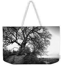 Tree On Ridge - Black And White Weekender Tote Bag