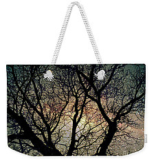 Weekender Tote Bag featuring the photograph Tree Silhouette With Stars. by Yulia Kazansky