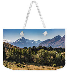 Weekender Tote Bag featuring the photograph Tree View Of Mt Cook Aoraki by Gary Eason