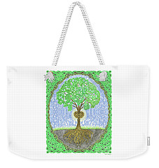 Weekender Tote Bag featuring the digital art Tree With Heart And Sun by Lise Winne