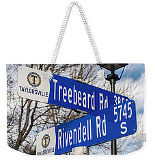 Weekender Tote Bag featuring the photograph Treebeard And Rivendell Street Signs by Gary Whitton