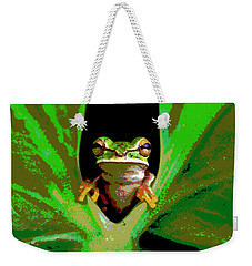 Weekender Tote Bag featuring the mixed media Treefrog by Charles Shoup